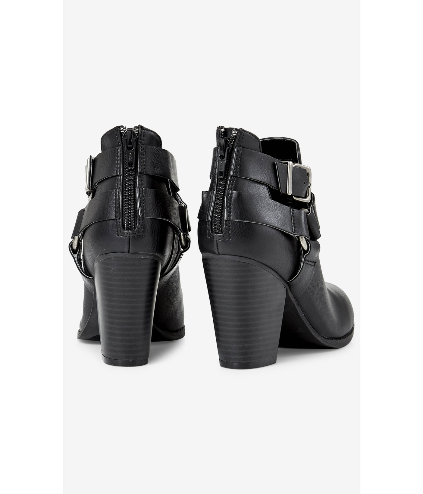 Express Buckled Cut-Out Bootie in Black
