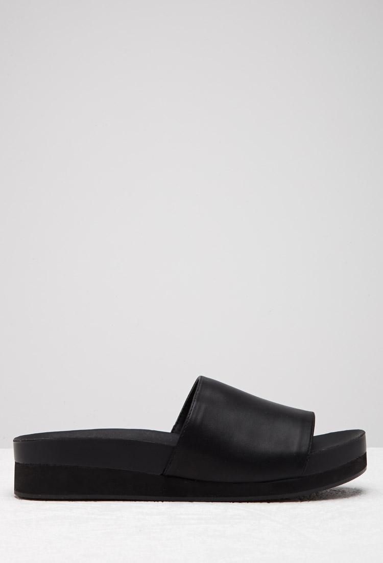 0c3f5721402b Forever 21 Faux Leather Platform Slides in Black - Lyst