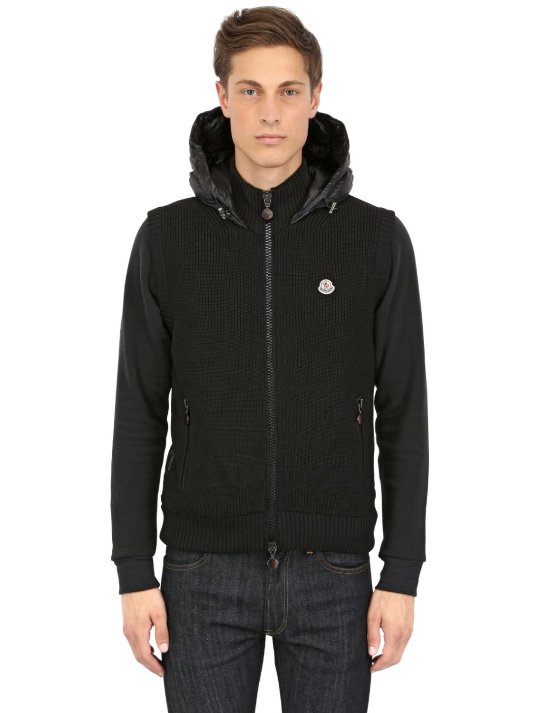 b657b66c41 Moncler Wool Knit Nylon Hooded Vest in Black for Men - Lyst