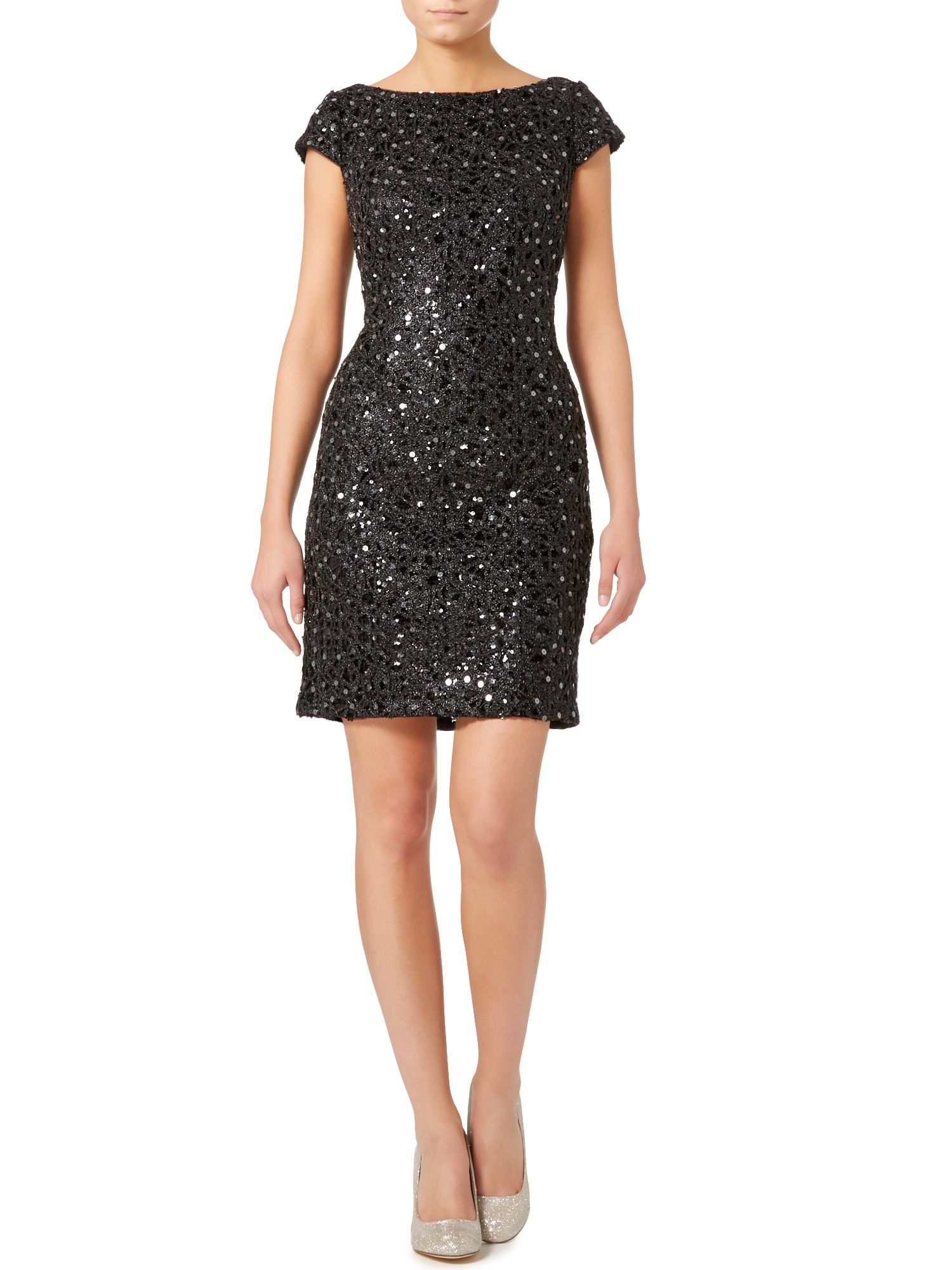 Adrianna Papell Cap Sleeve All Over Sequin Shift Dress In