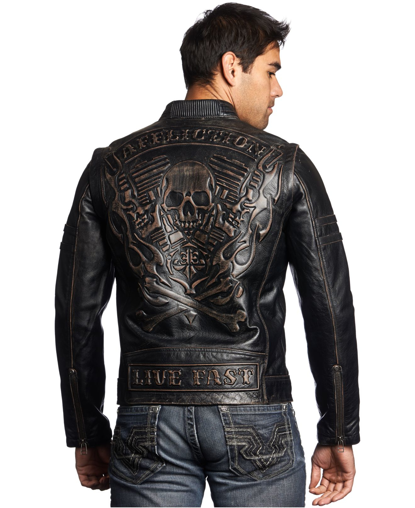 Lyst Affliction Rebellious Leather Jacket In Black For Men