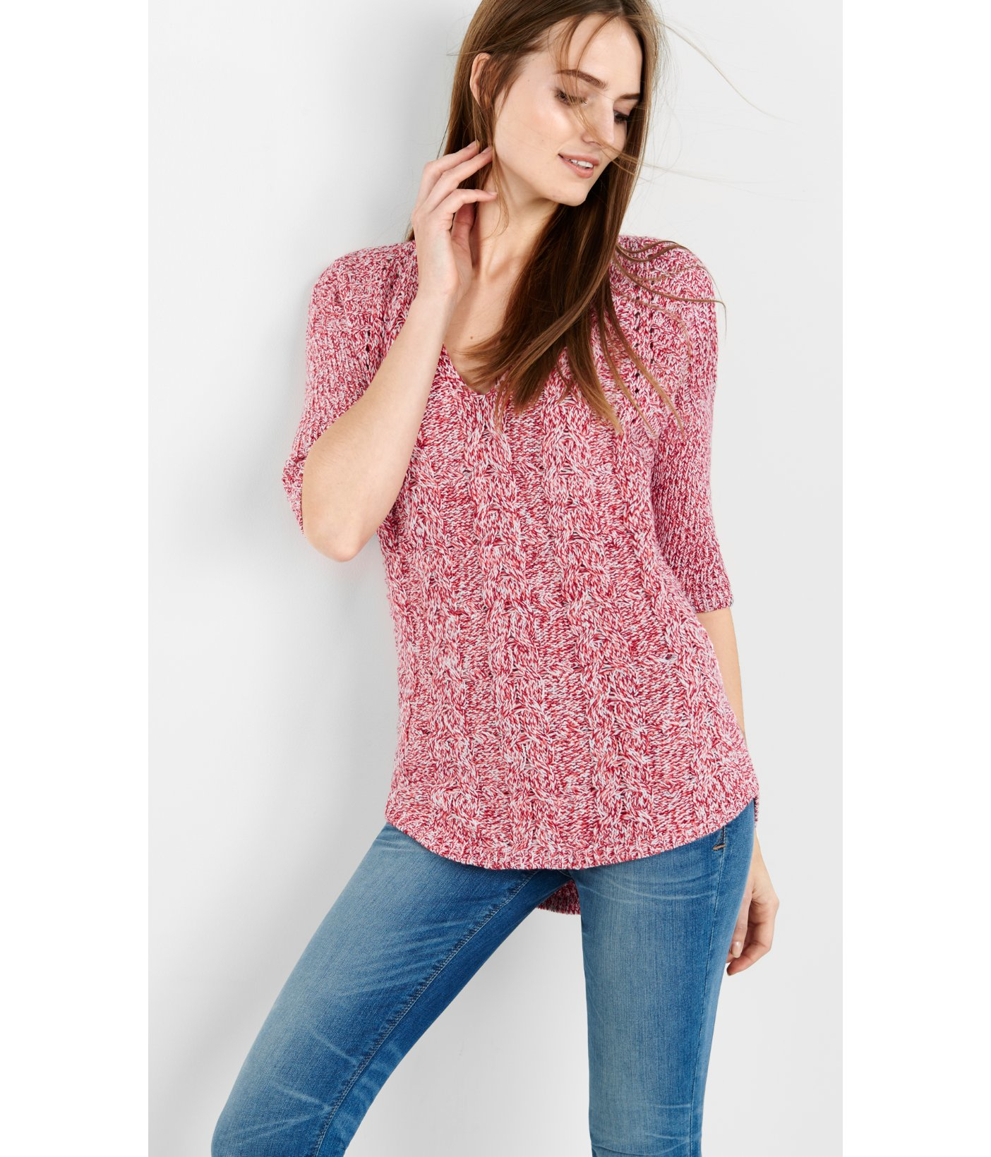 Express Marl Cable London Tunic Sweater in Pink | Lyst