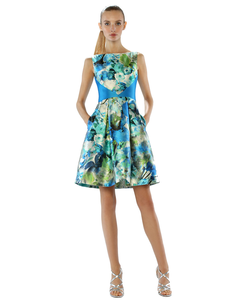 Lyst - Theia Floral Print Colorblock A-line Dress in Blue