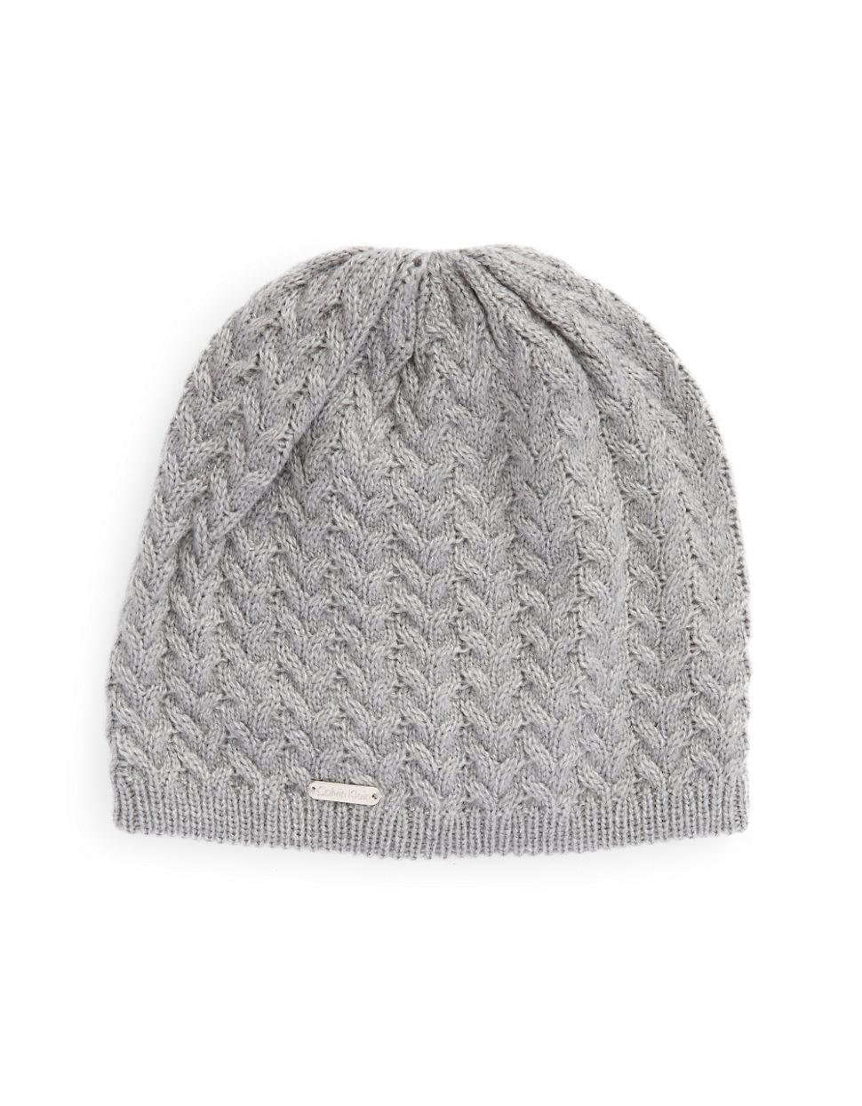 Calvin Klein Cable Knit Beanie in Gray - Lyst 0ddd2e9c5fc