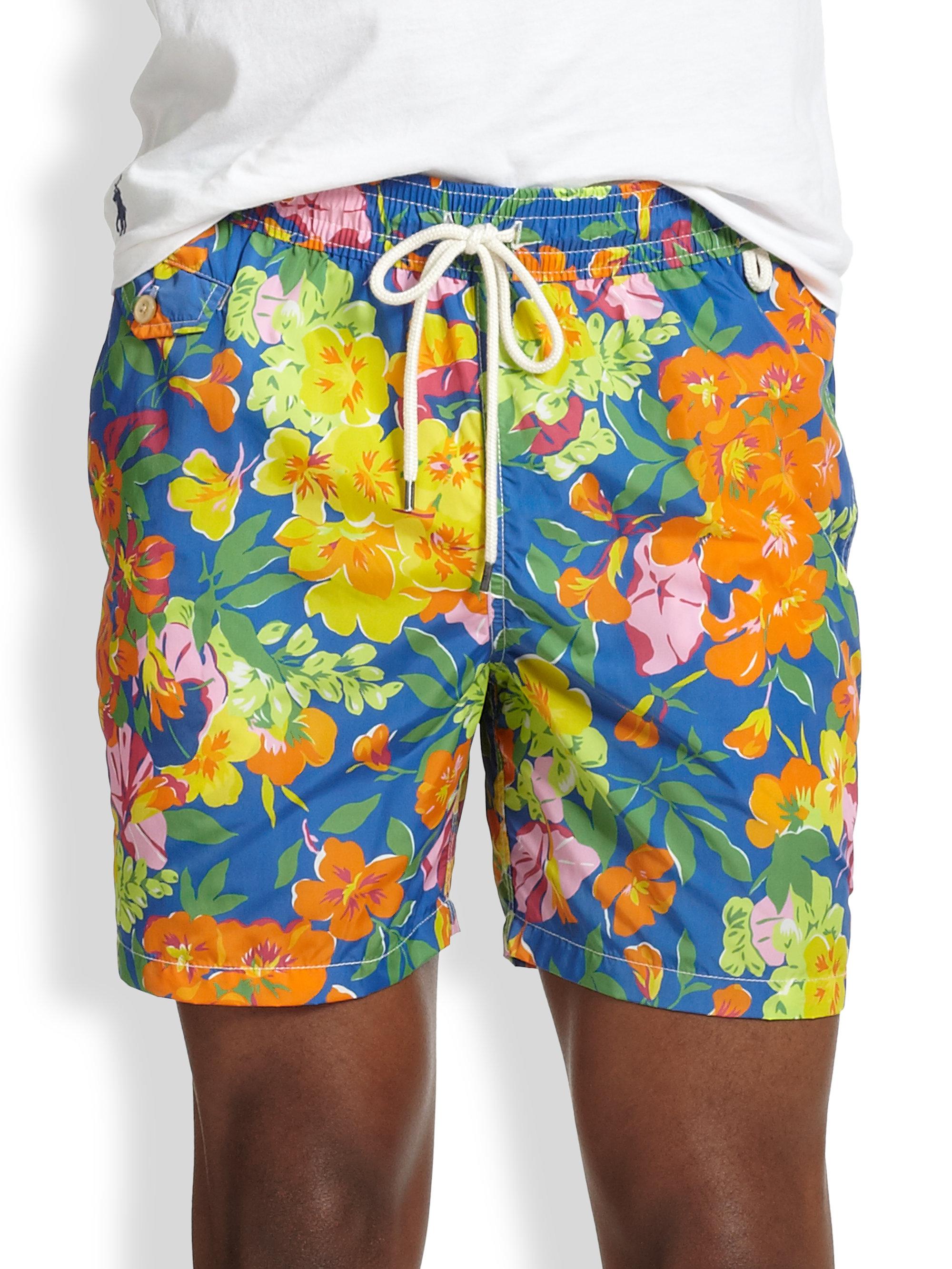 627fe725f8587 Polo Ralph Lauren Island Floralprint Swim Trunks in Blue for Men - Lyst