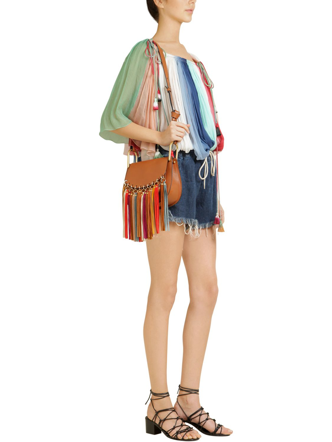 Chlo�� Small Hudson Leather Multicolor Fringes in Brown | Lyst