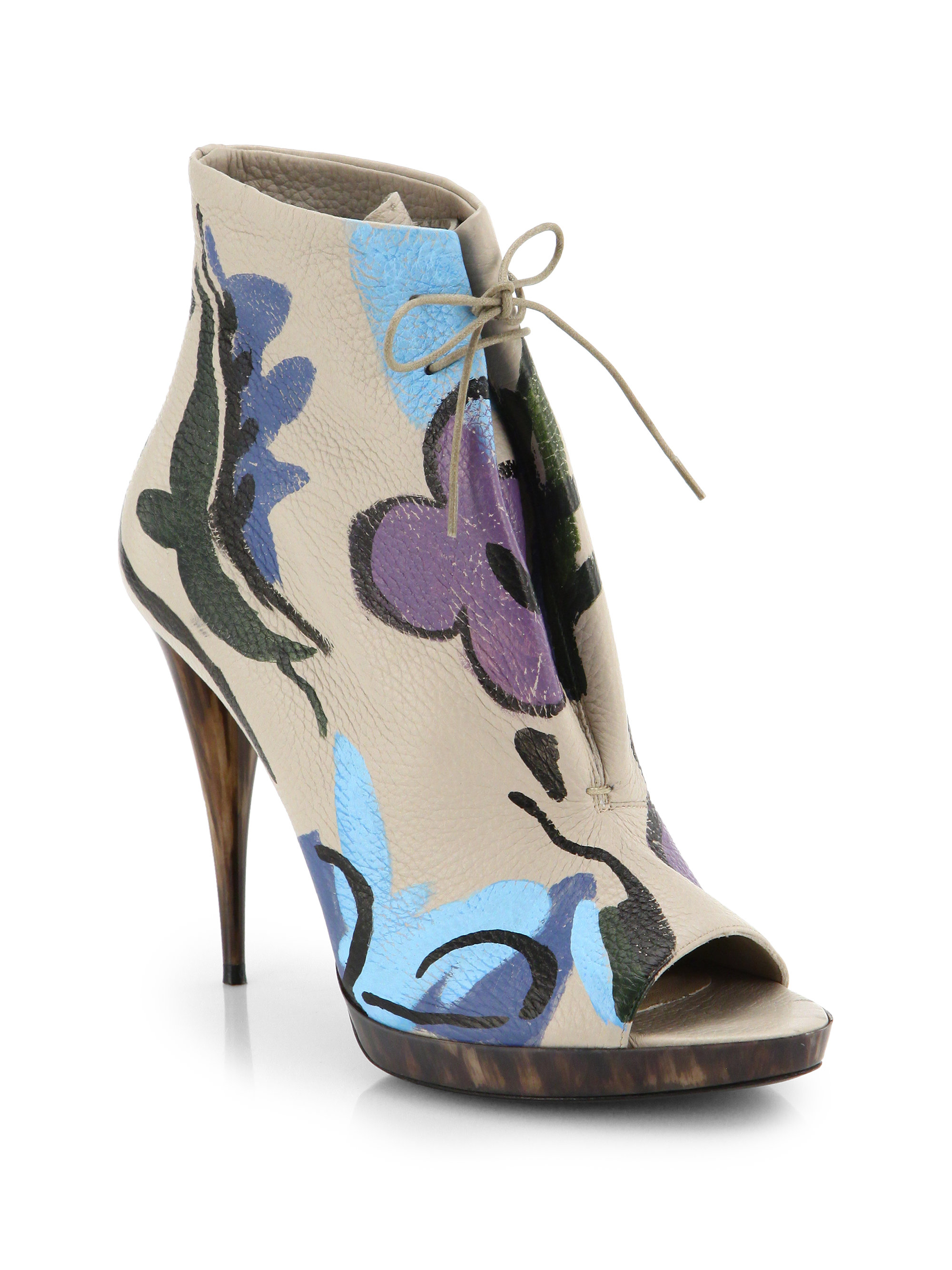 Lyst Burberry Prorsum Hand Painted Leather Peep Toe