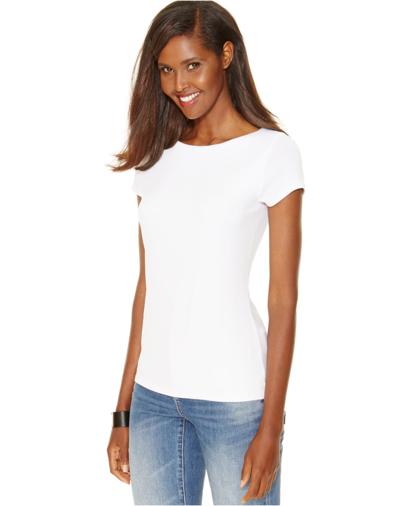 a27680403c5ef7 INC International Concepts Fitted Boat-neck Tee in White - Lyst