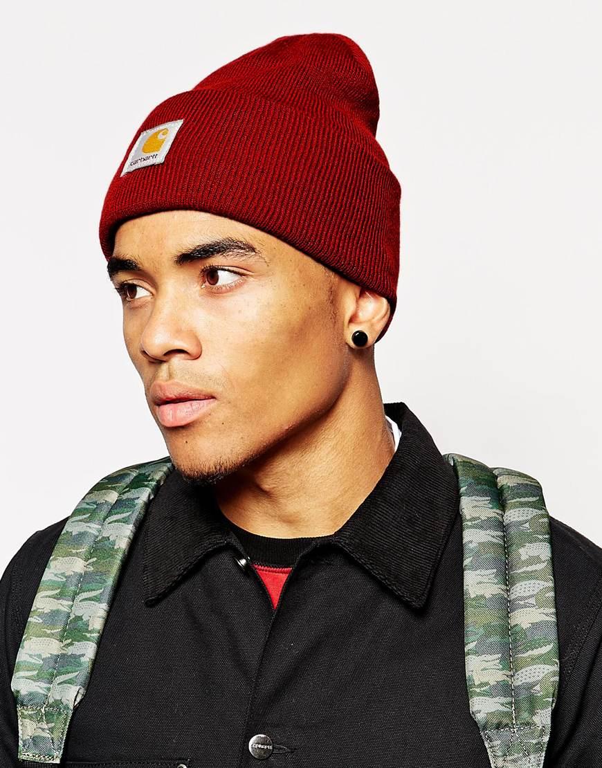 Lyst - Carhartt Acrylic Watch Beanie Hat in Red for Men ffbba0b43