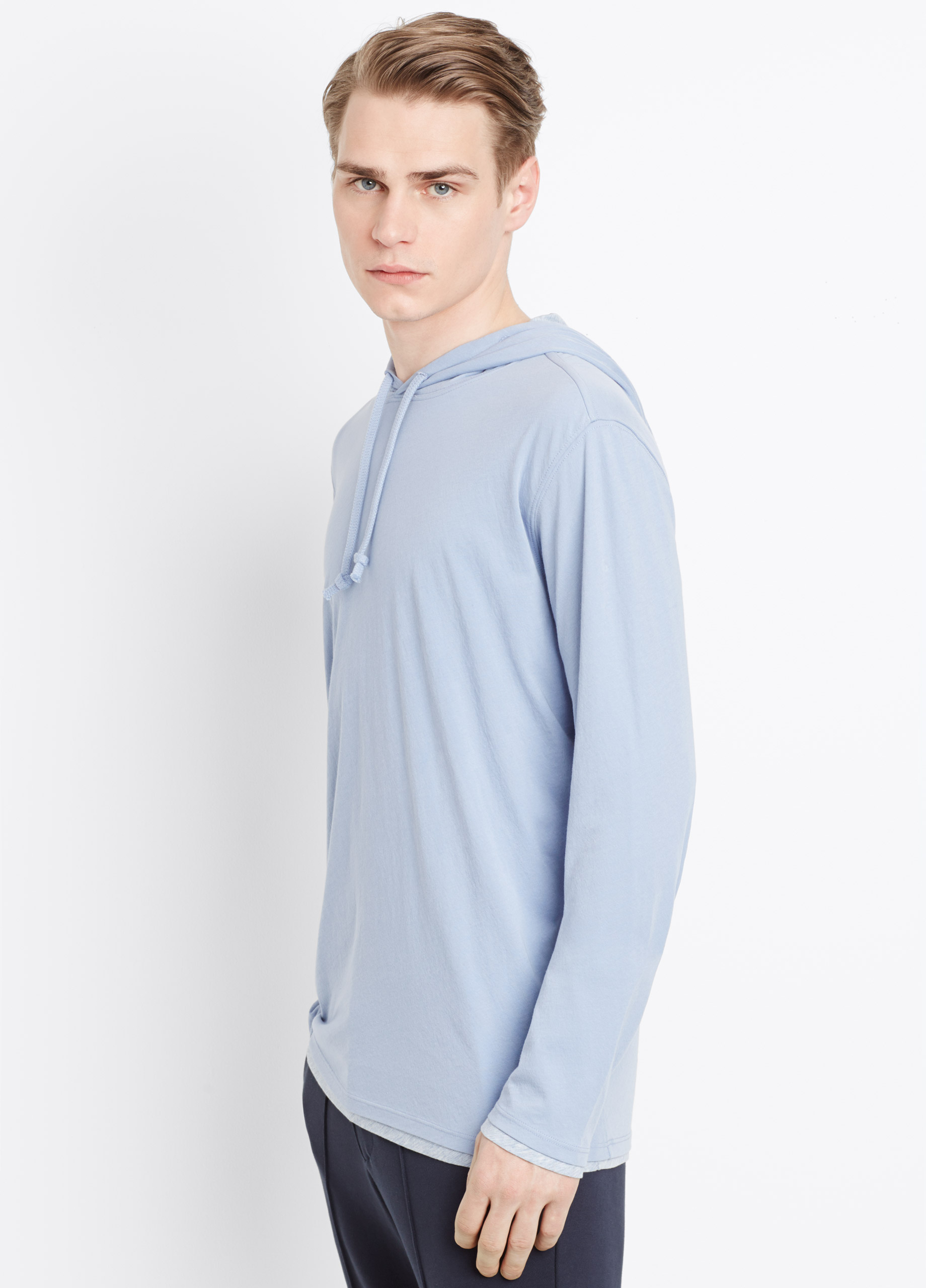 lyst vince double layer cotton hoodie in blue for men. Black Bedroom Furniture Sets. Home Design Ideas