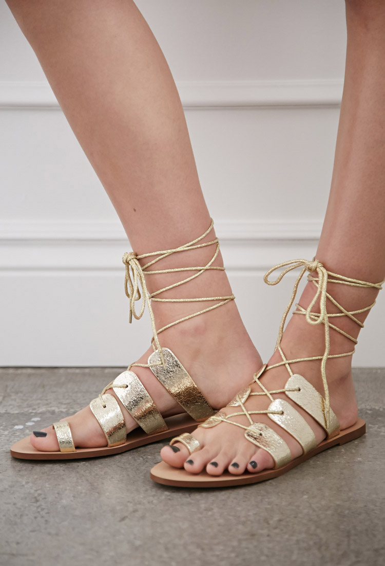 Lyst Forever 21 Crackled Metallic Lace Up Sandals In