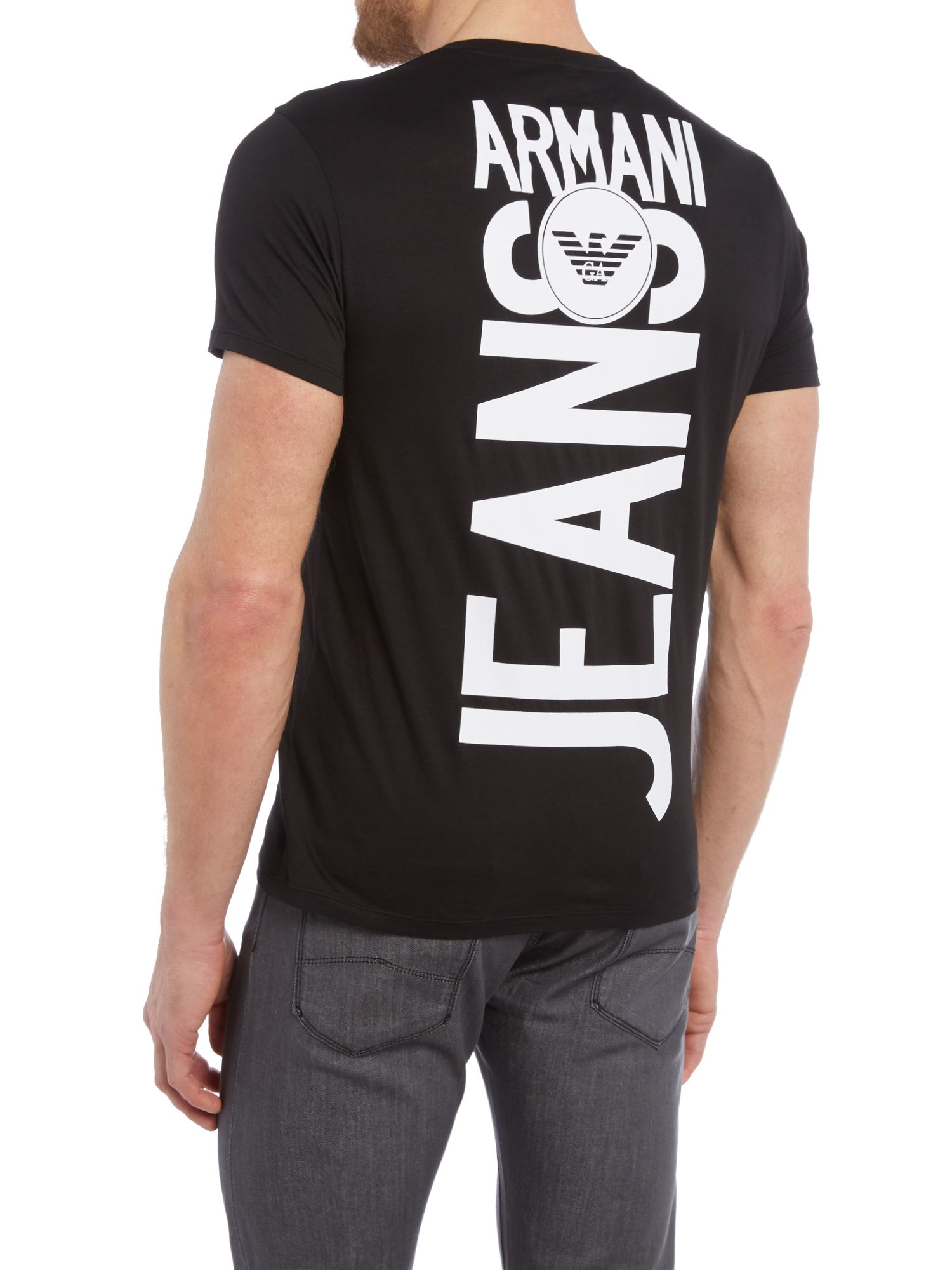 Armani jeans regular fit back graphic t shirt in black for for Shirts with graphics on the back