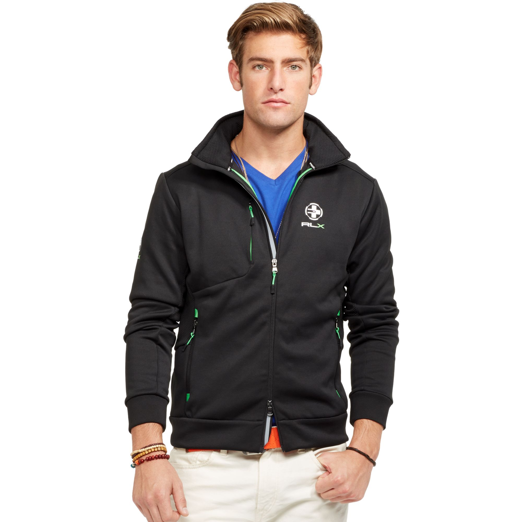 polo ralph lauren rlx performance jersey jacket in black. Black Bedroom Furniture Sets. Home Design Ideas