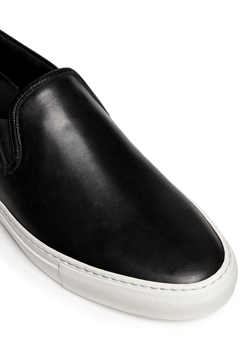 Lyst - Common Projects Leather Slip-On Sneakers in Black for Men d08679d5ff93
