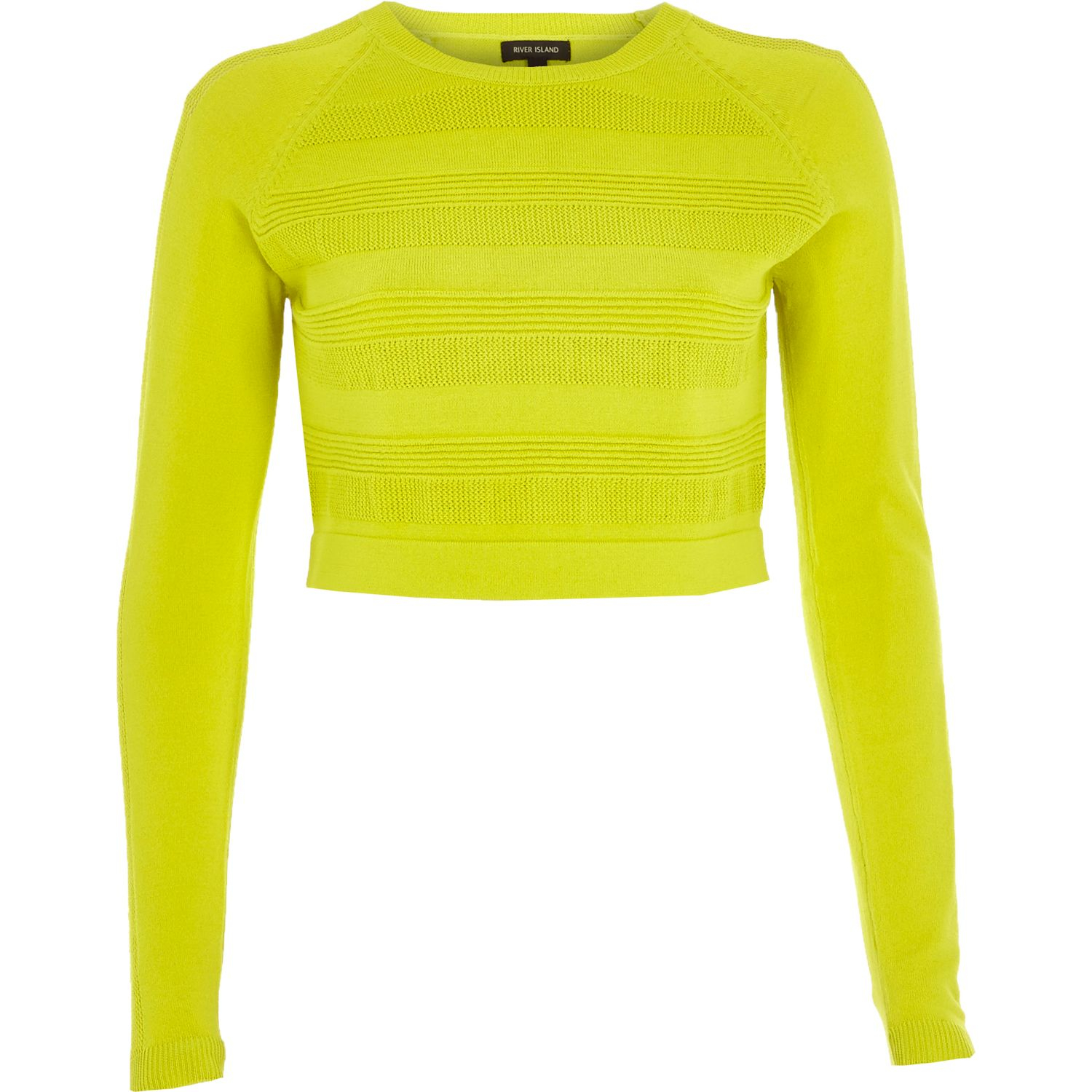 18e46895d43 River Island Lime Ripple Mesh Knitted Crop Top in Green - Lyst