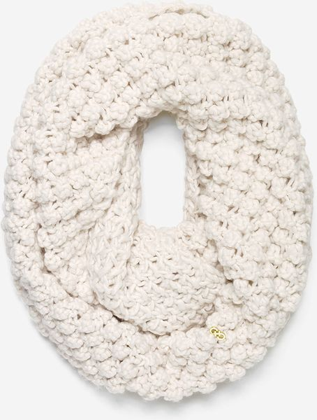 Cole Haan White Popcorn Stitch Infinity Scarf Lyst