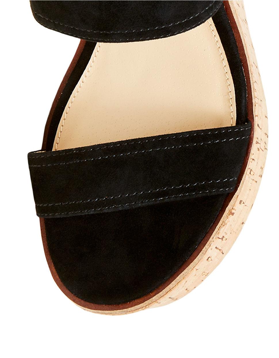 b2ff1c149d5 Steve Madden Black Catlyn Suede Platform Wedge Sandals
