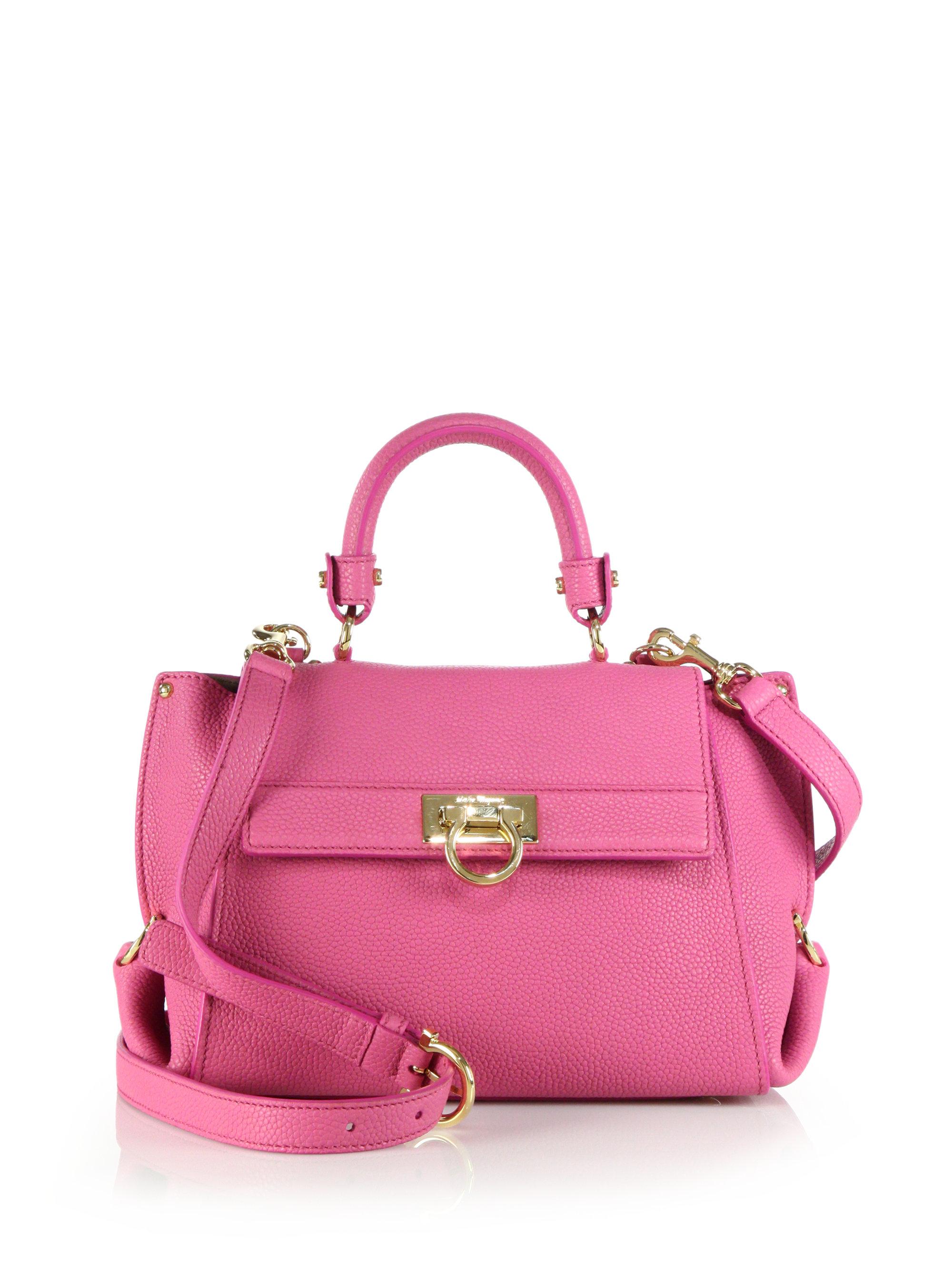 Lyst - Ferragamo Sofia Small Leather Satchel in Pink 1e1d2a370e76f