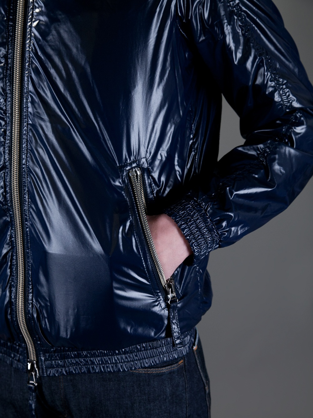 More Details Moncler Men's Maya Shiny Down Puffer Jacket with Hood Details Moncler