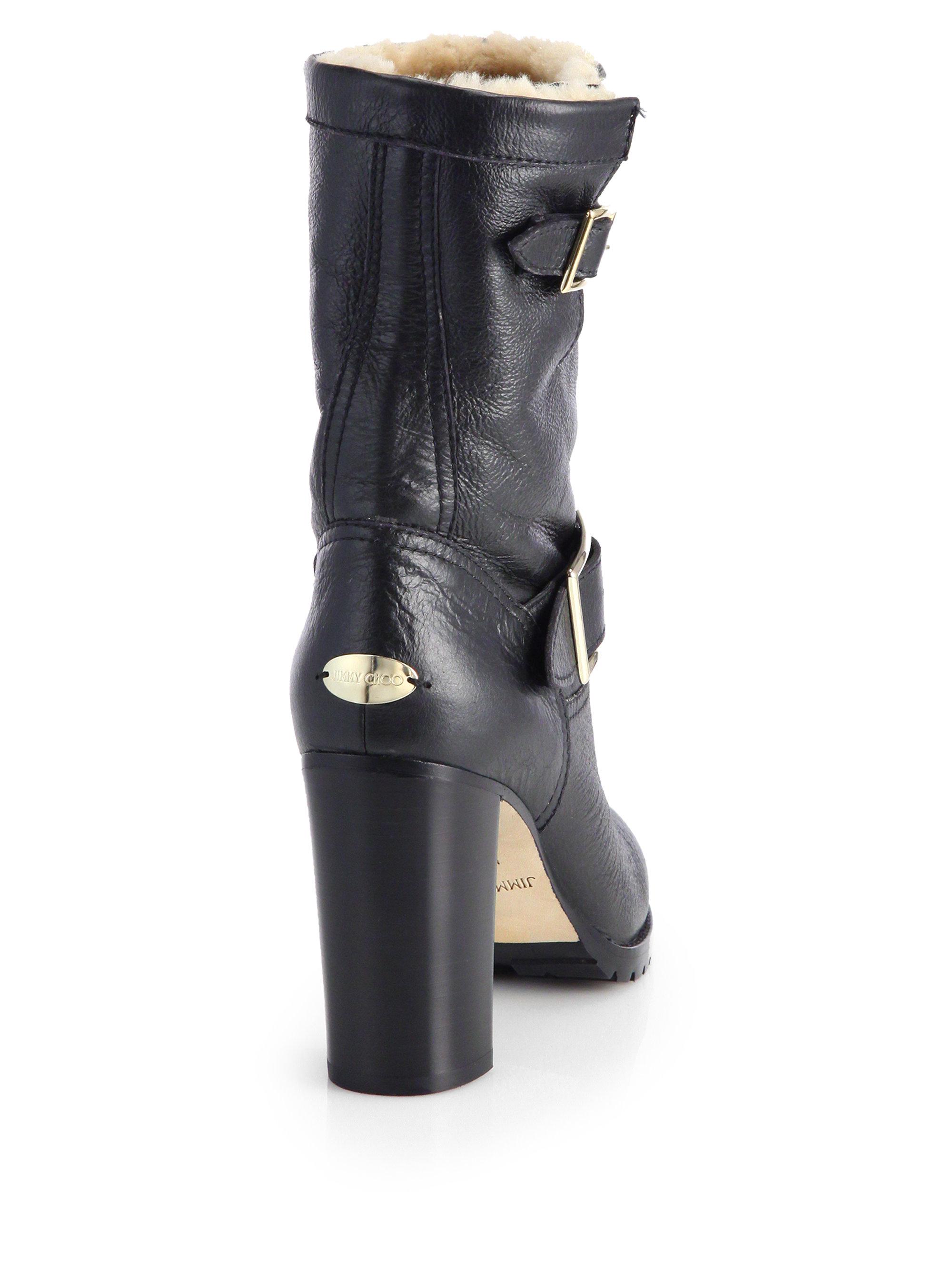 lyst jimmy choo dart shearlinglined leather biker boots in black rh lyst com