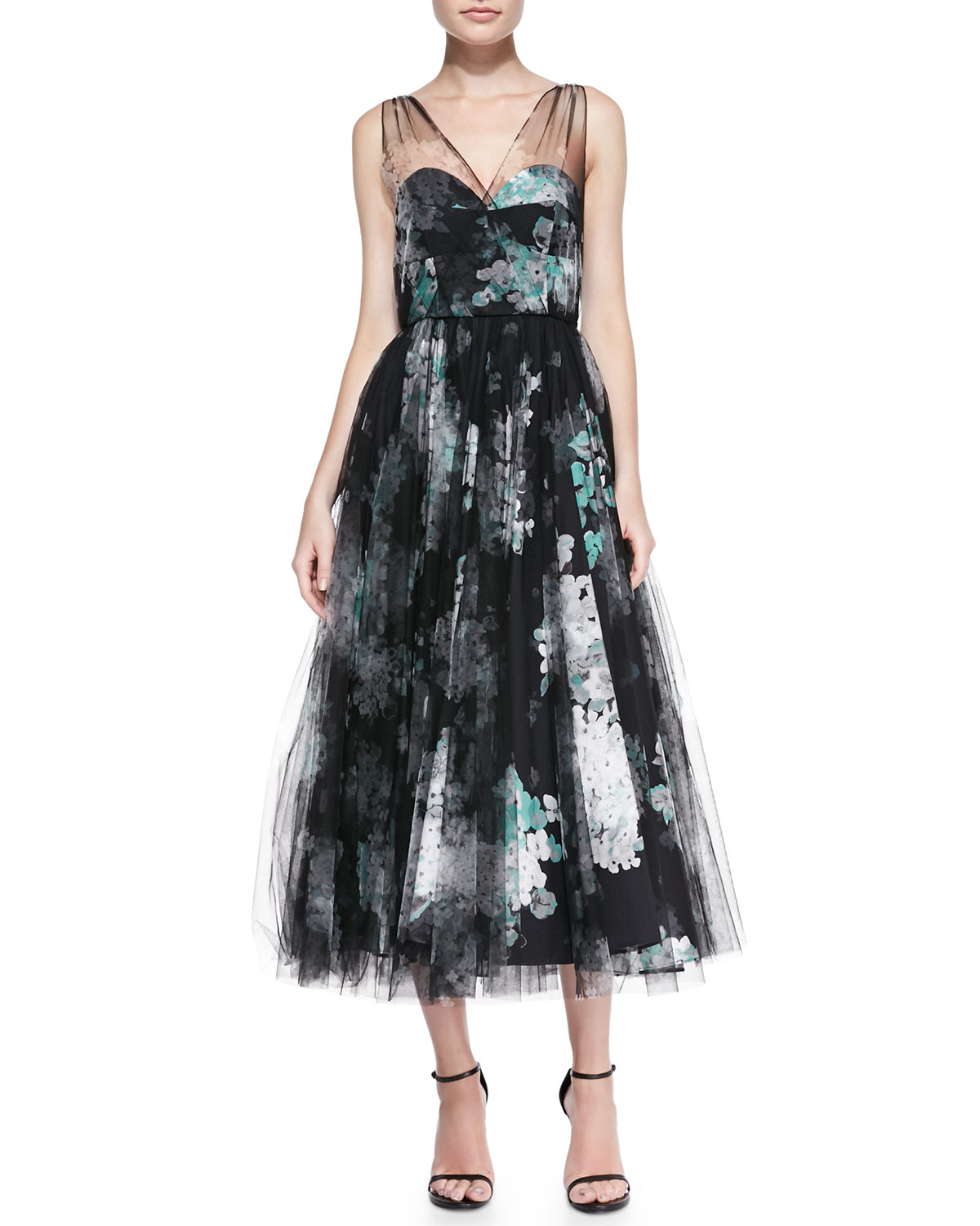 Lyst - Milly Natalie Pop Art Floral Cocktail Dress in Black