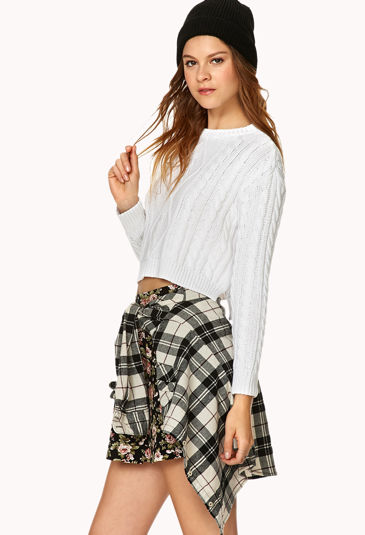 Forever 21 Cropped Cable Knit Sweater in White - Lyst