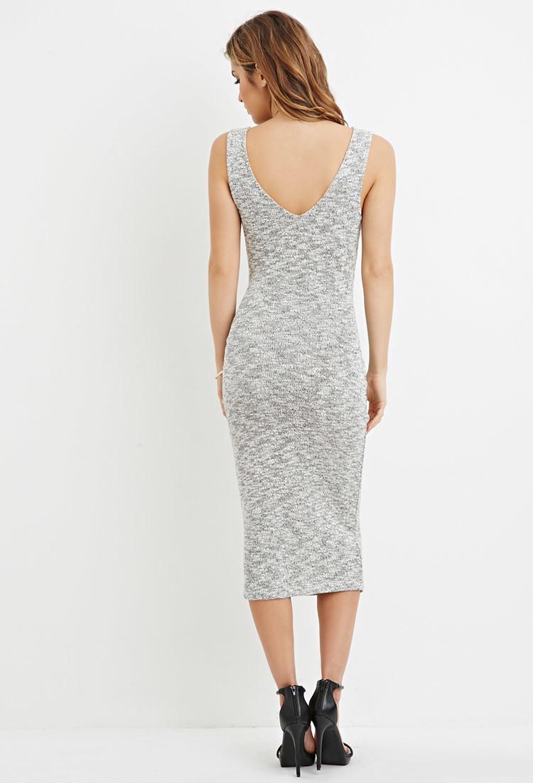 eda4f23e5580 Forever 21 Tie-waist Marled Midi Dress in Gray - Lyst