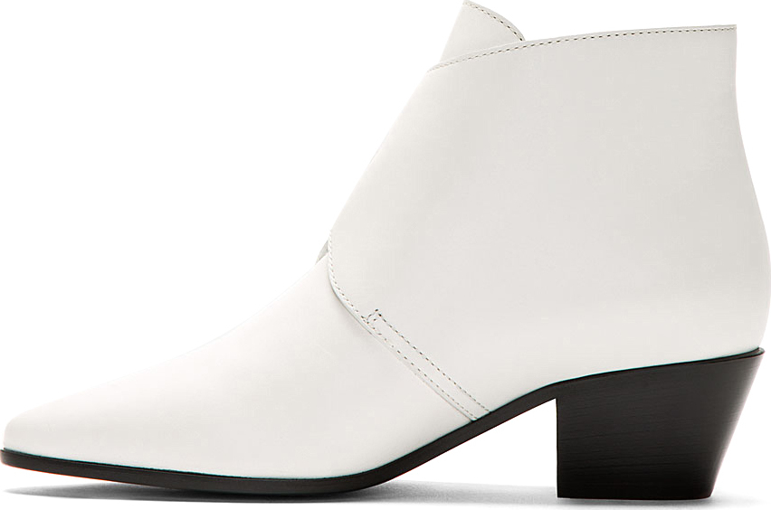 Saint laurent White Leather Ankle Boots in White | Lyst