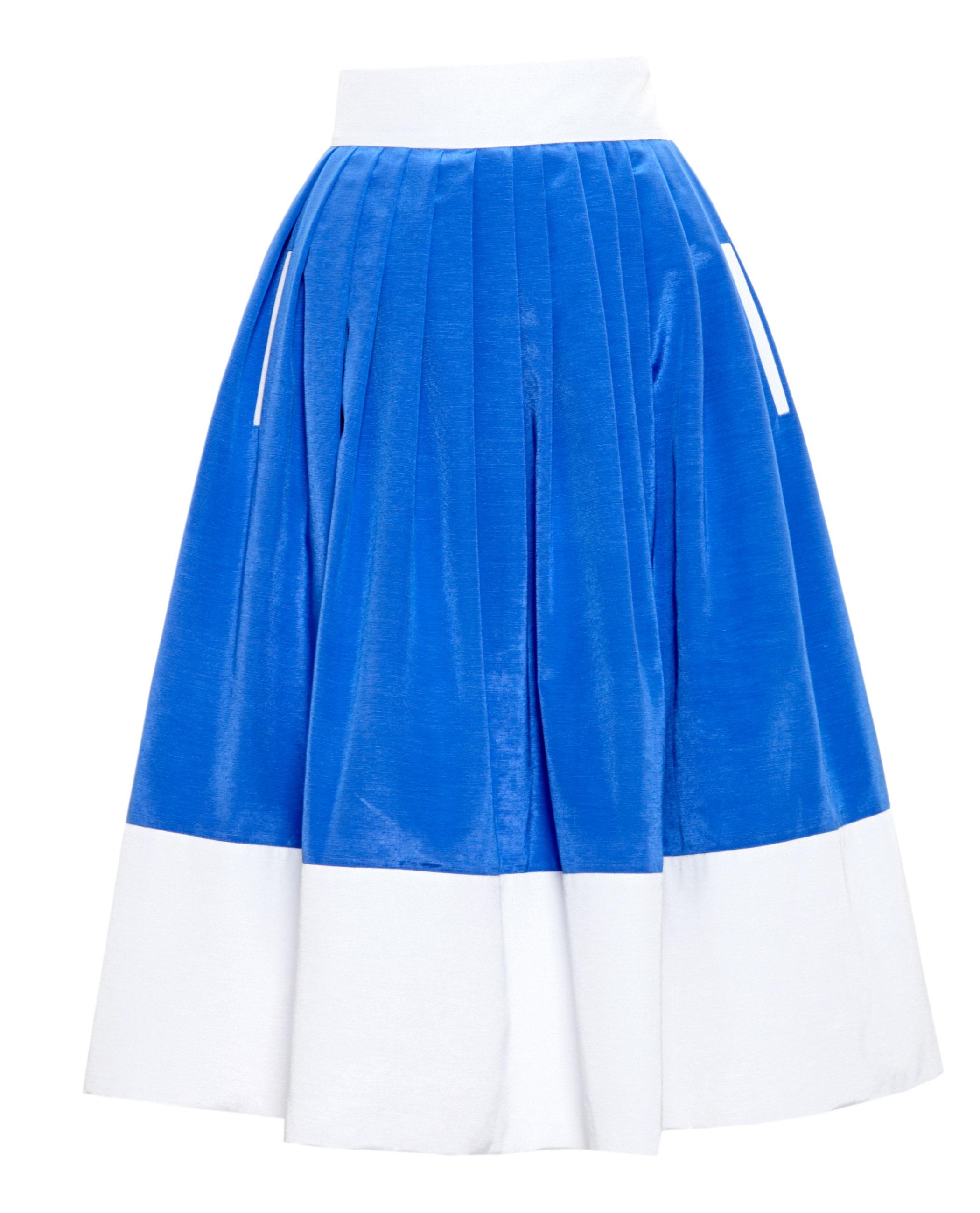 zinko pleated midi skirt in blue lyst