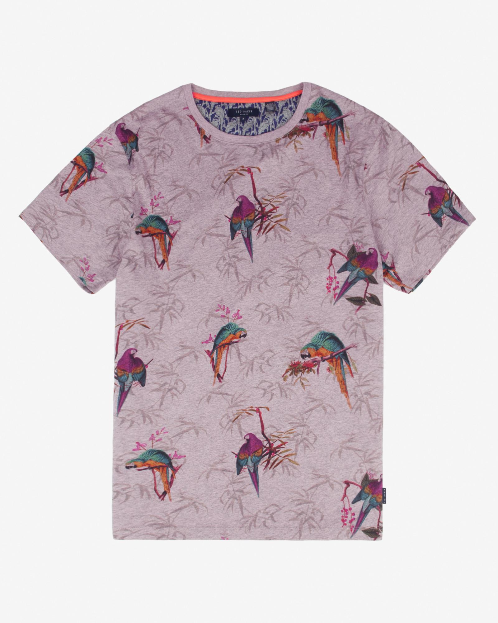 ed4e137d434b86 Ted Baker Parrot Print T-shirt in Purple - Lyst