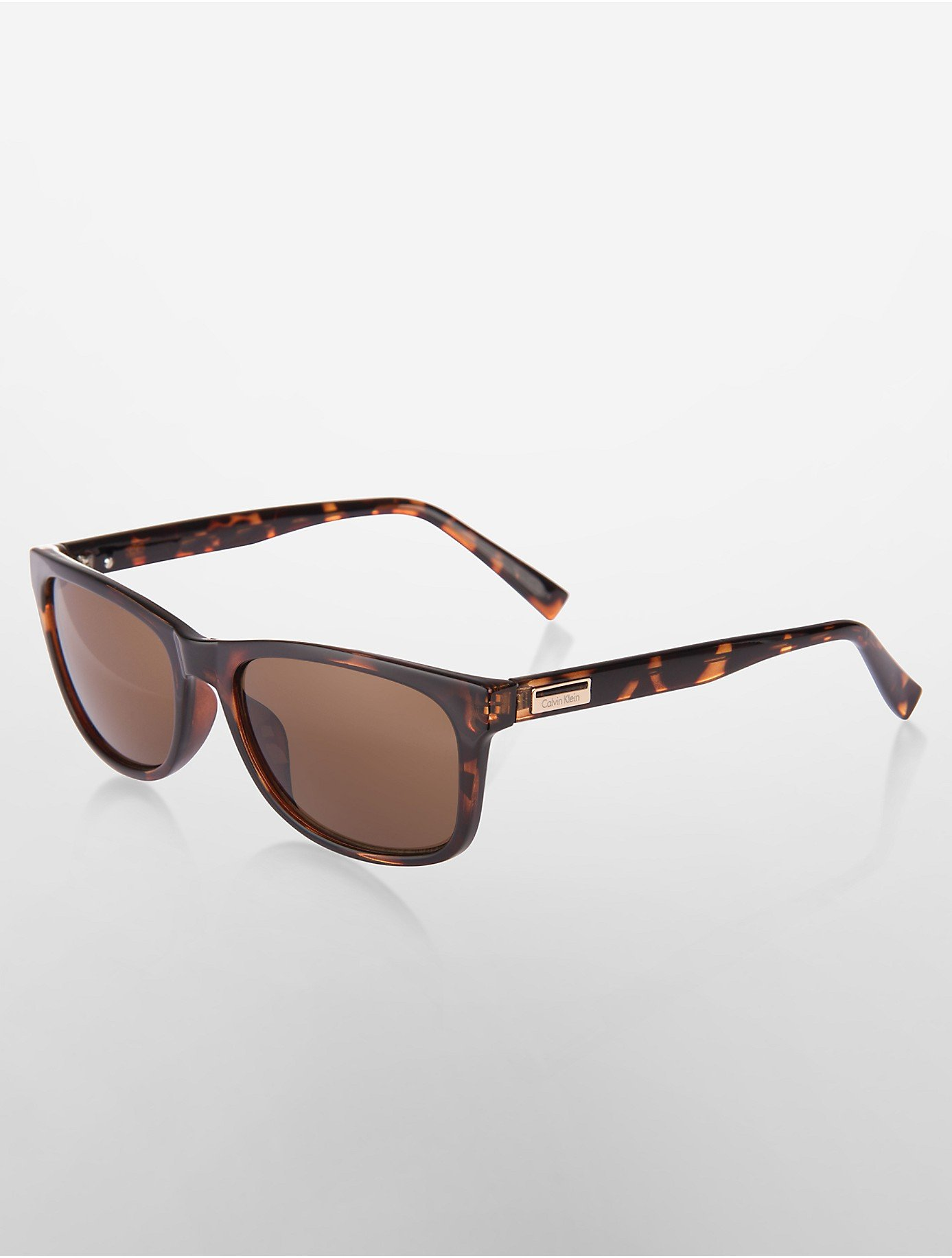 Calvin klein White Label Wayfarer Sunglasses in Brown (TORTOISE) | Lyst