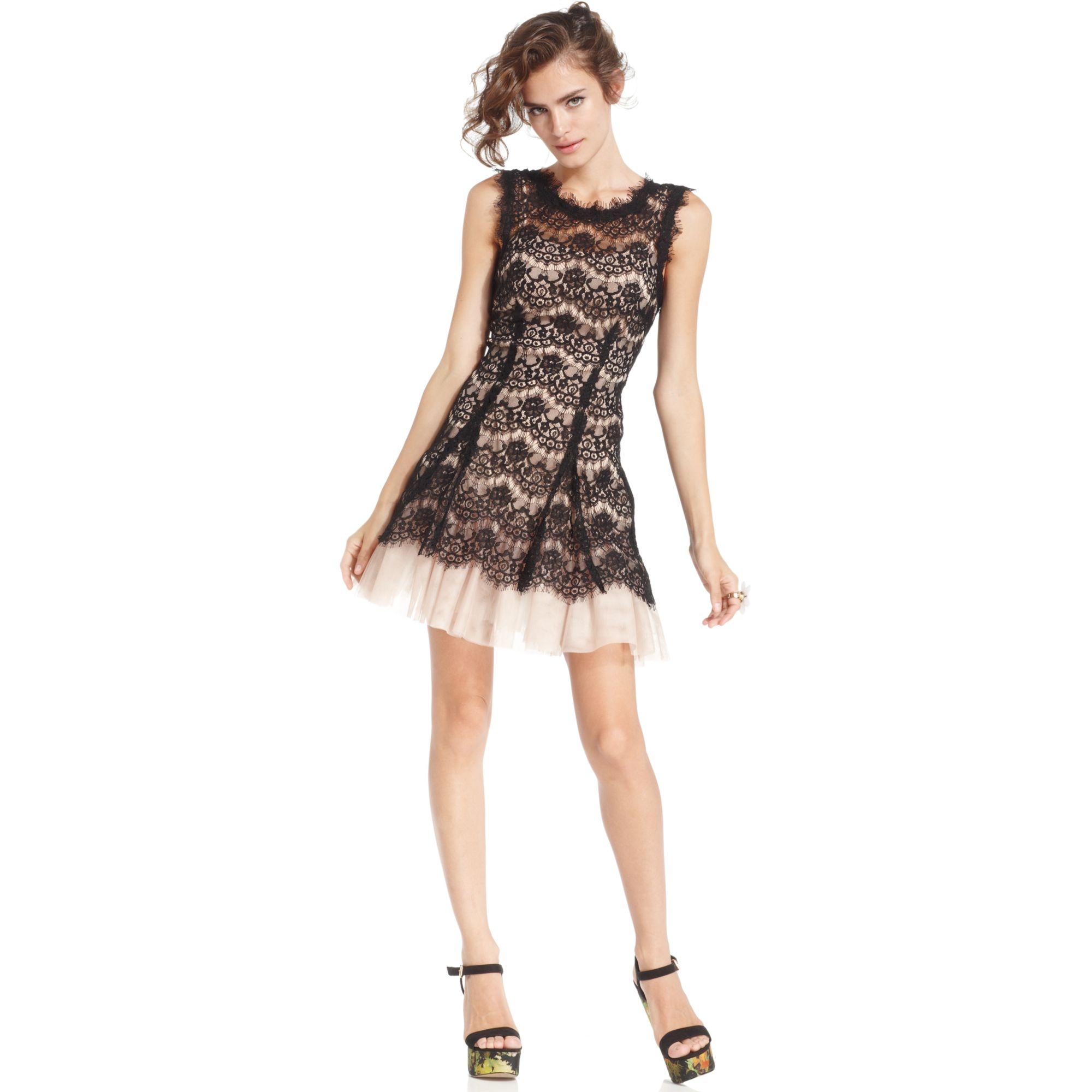 Betsy Amp Adam Illusion Lace Tulle Dress In Black Lyst