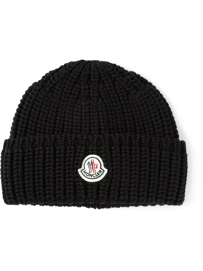 bf1e9c5ed82 Moncler Ribbed Knit Beanie Hat in Black for Men - Lyst