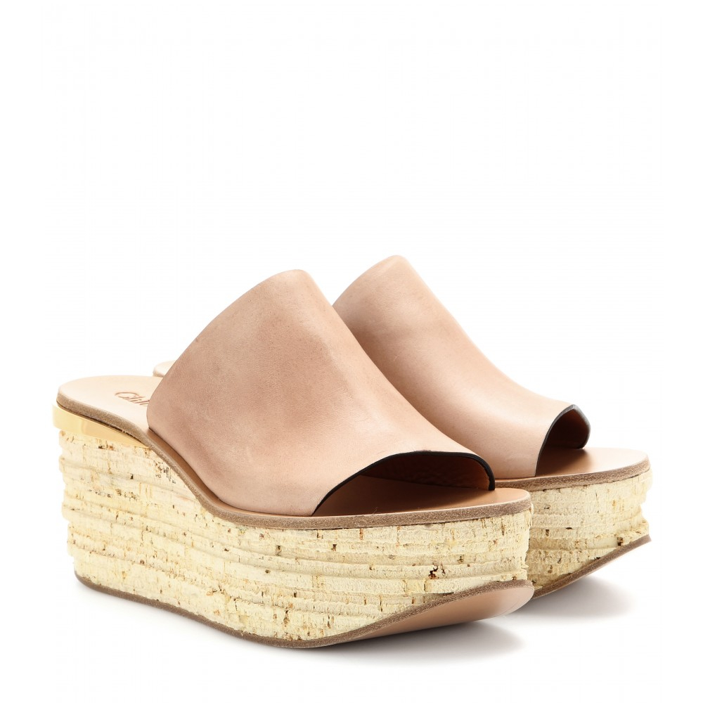 37d808904abb Lyst - Chloé Camille Leather Cork Wedge Mules in Pink