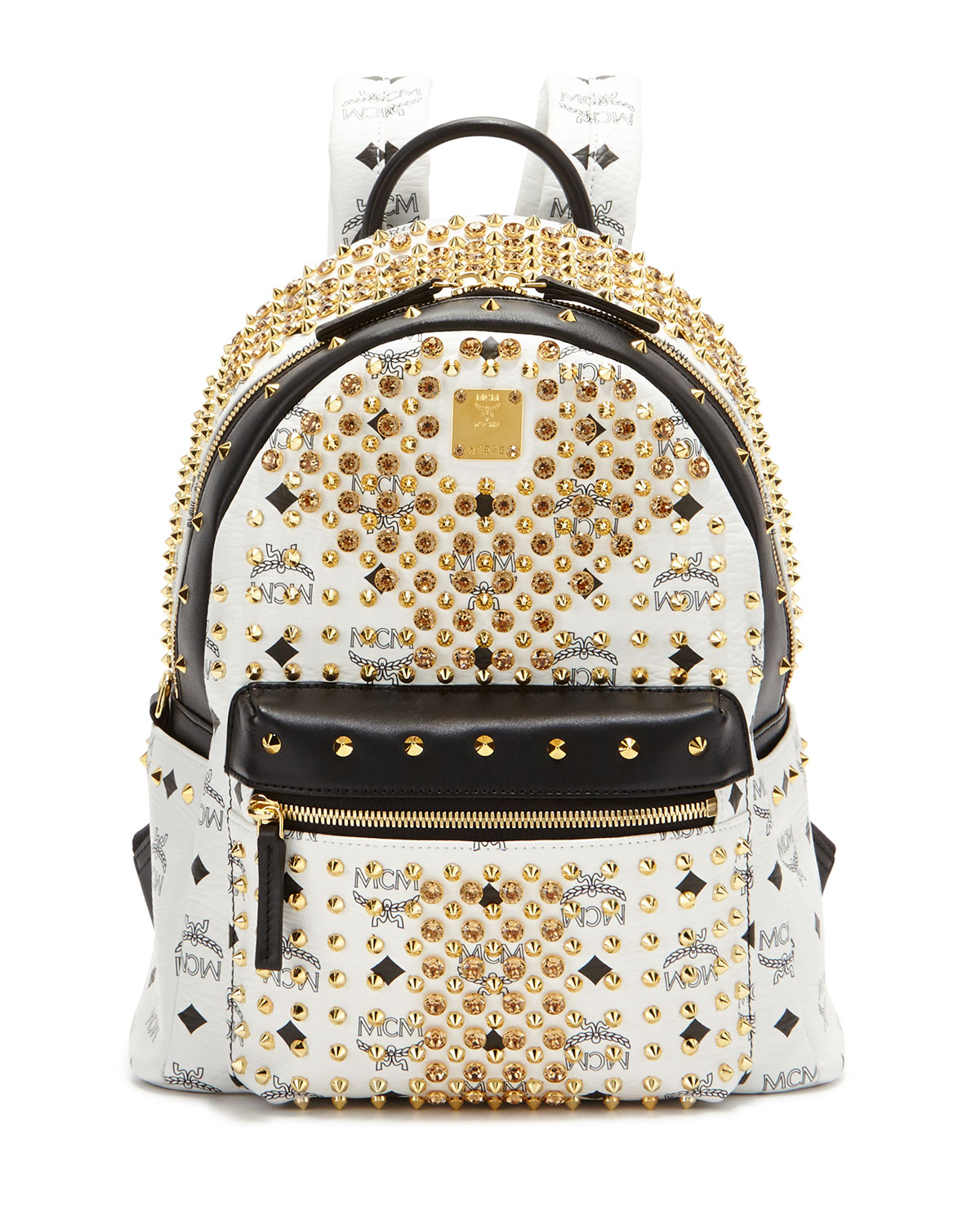 mcm diamond visetos small backpack in black lyst. Black Bedroom Furniture Sets. Home Design Ideas