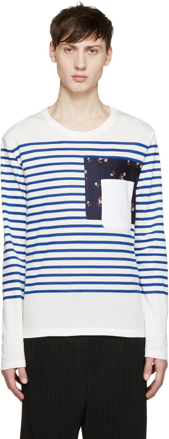Lyst alexander mcqueen white blue breton stripe t for Blue white striped t shirt mens