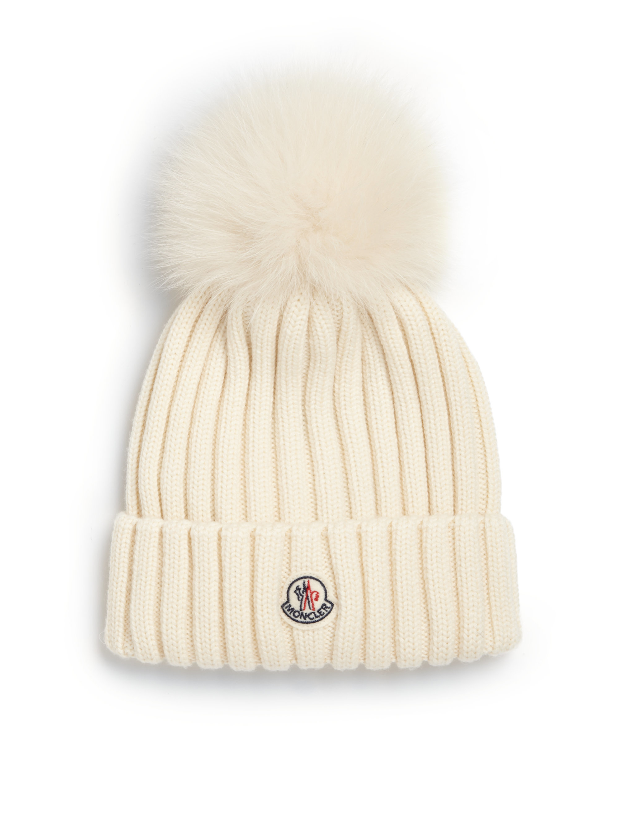 33eb3597ac1 Lyst - Moncler Fur Pom-pom Ribbed Wool Hat in White