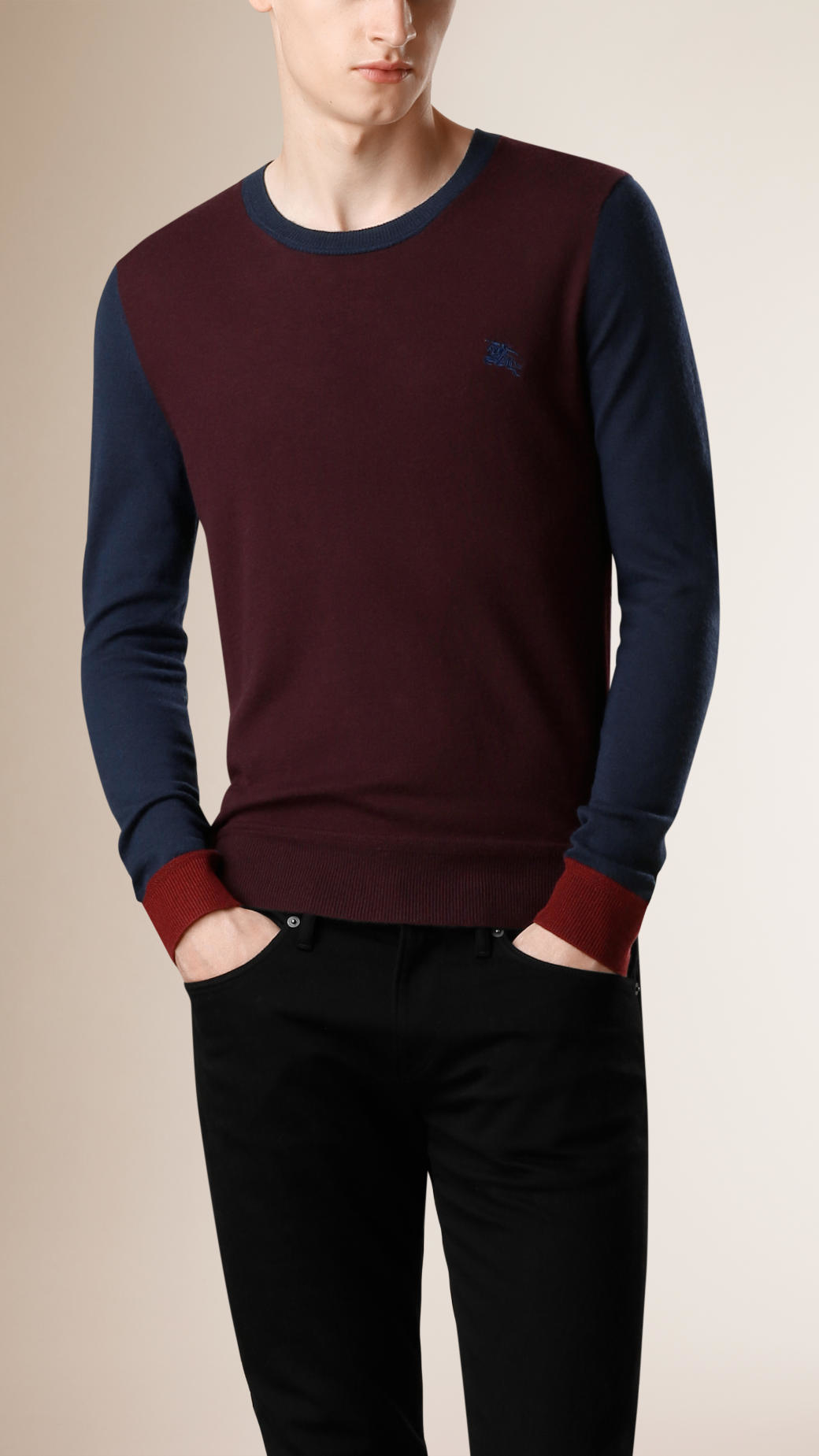 Burberry Colour Block Cashmere Sweater Deep Burgundy in Purple for ...
