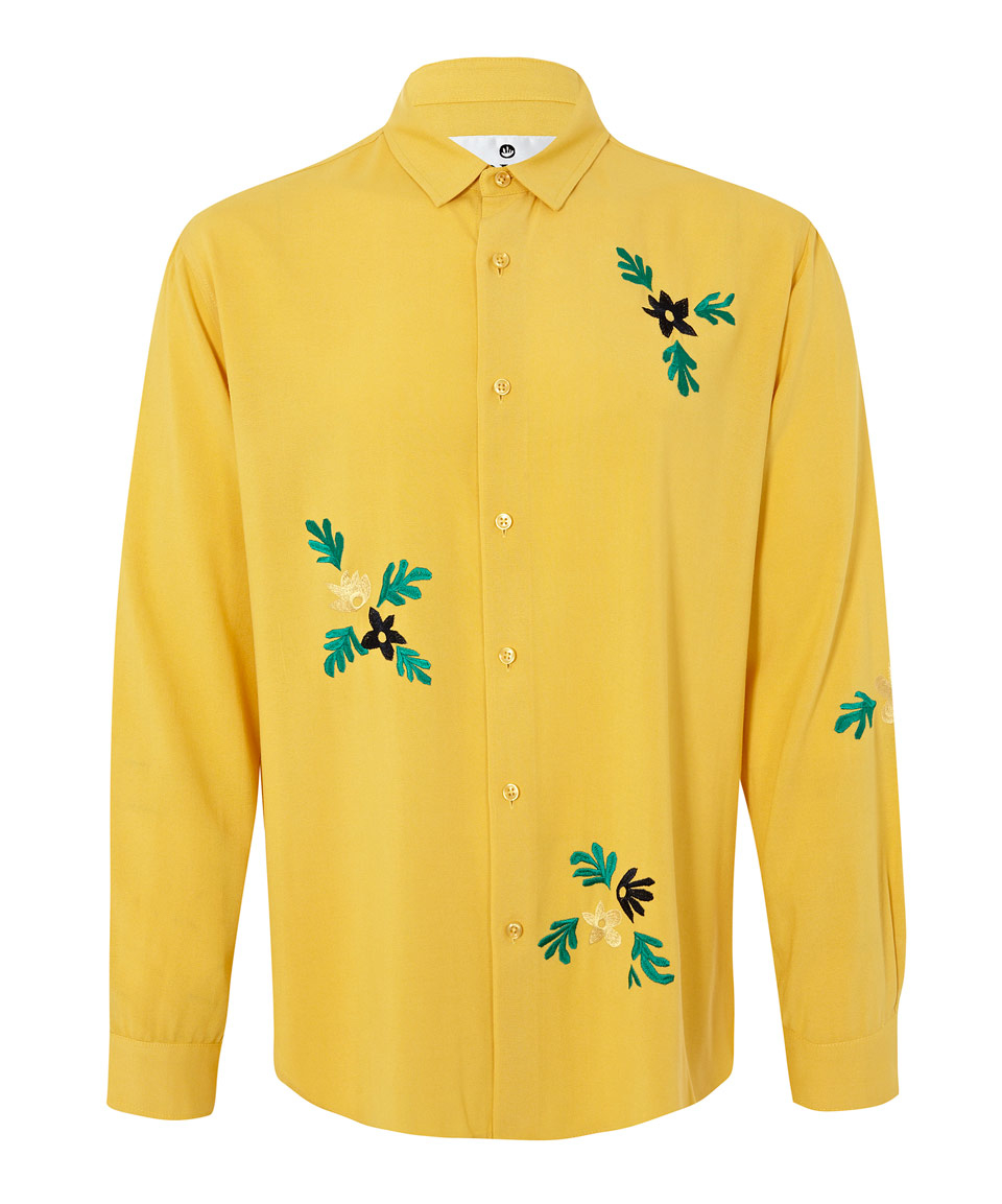 Bruta yellow floral embroidered shirt in for men lyst