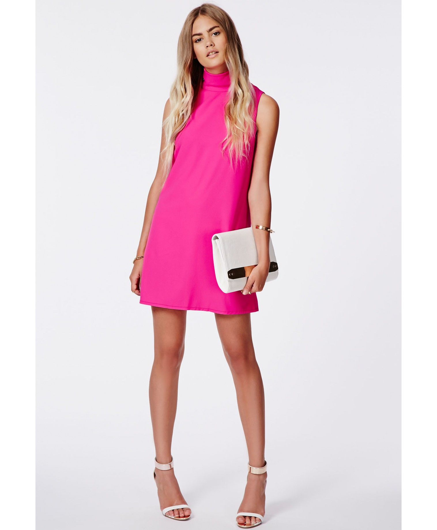 Missguided Callie Roll Neck Shift Dress Hot Pink in Pink ...