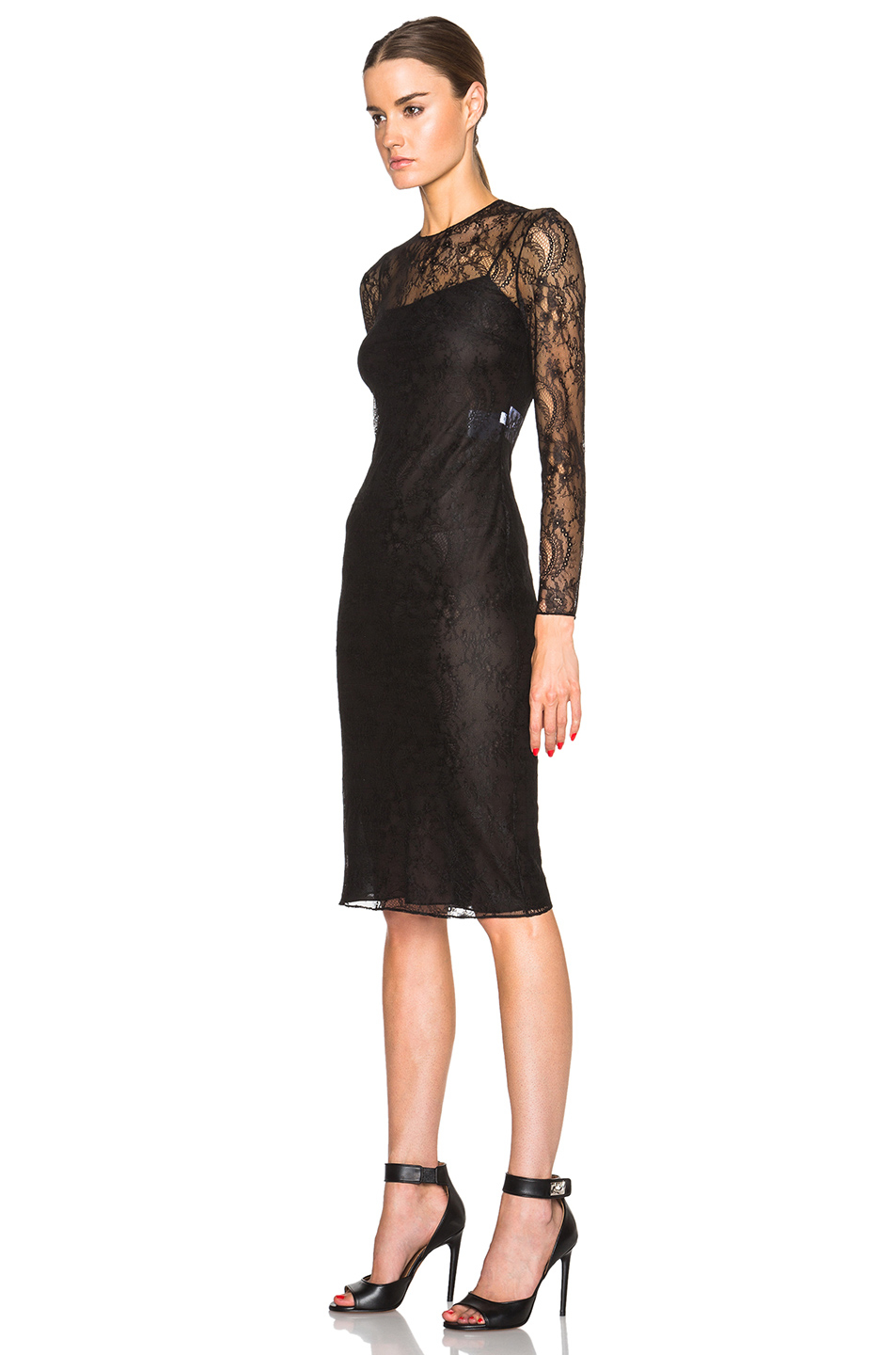 Lyst Givenchy Floral Lace Dress In Black