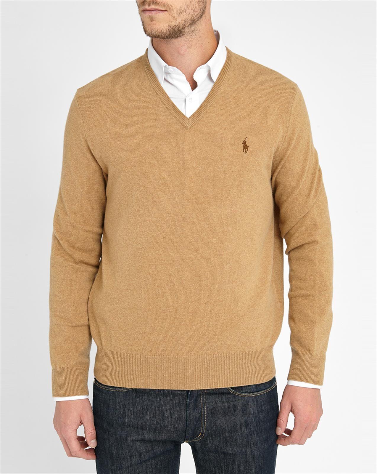 Ralph Lauren Black Men V Neck Stripe Sweaters