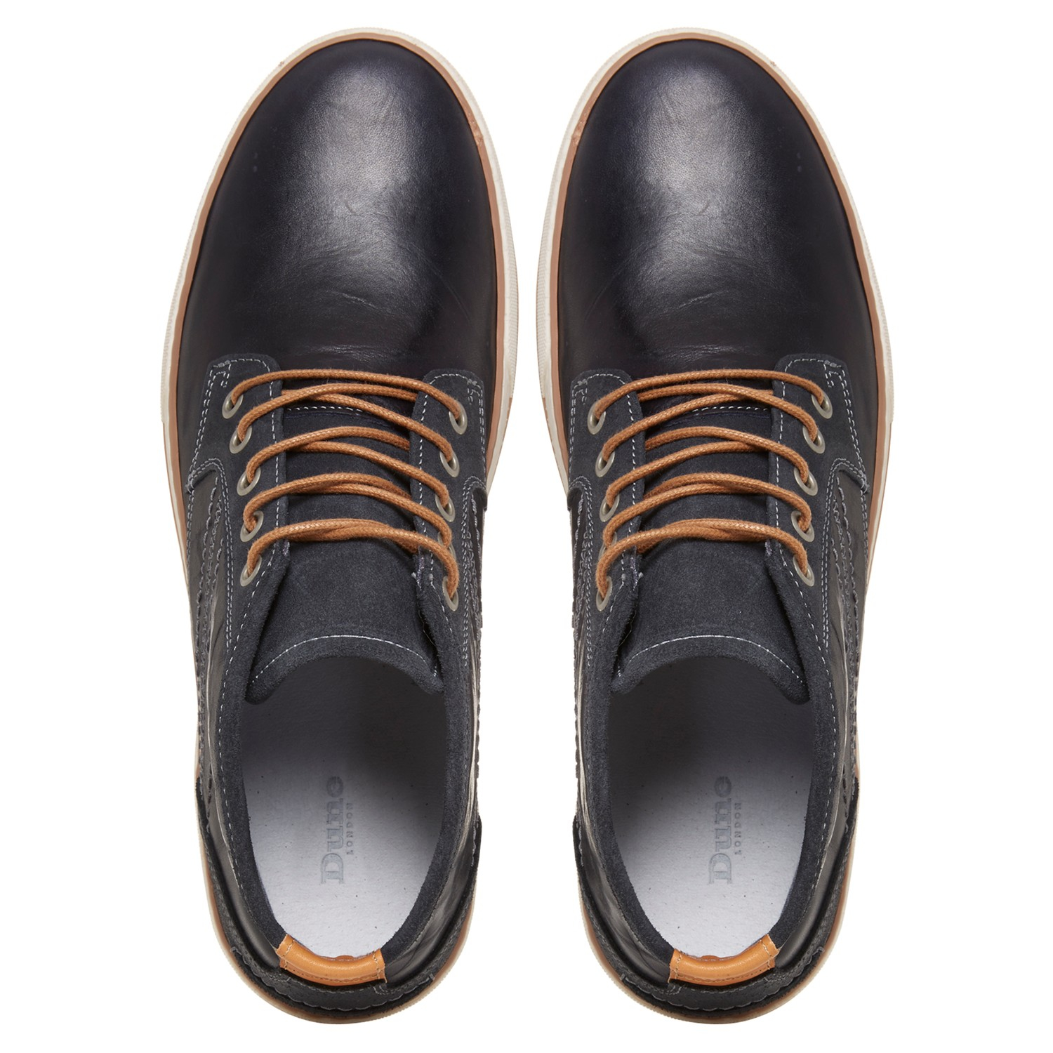 Dune Scholesy Cupsole Leather Hi-top Trainers in Navy (Blue) for Men