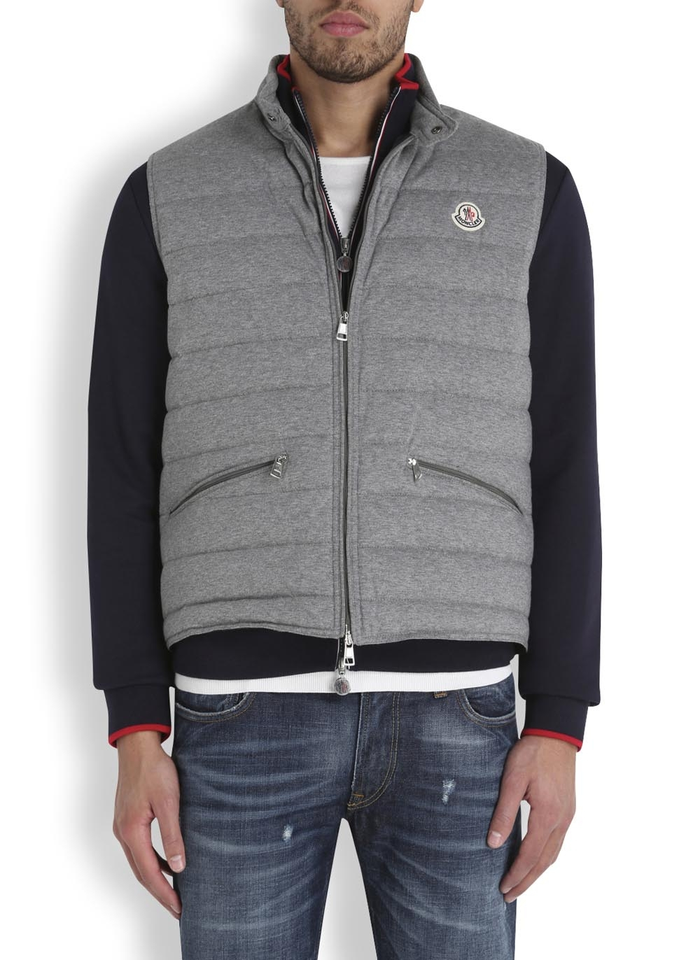 c202ad9778e0 Moncler Gerard Grey Quilted Jersey Gilet in Gray for Men - Lyst
