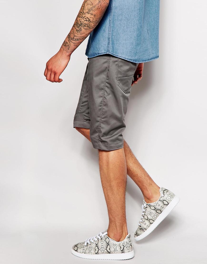 jack jones antifit chino shorts in gray for men grey lyst. Black Bedroom Furniture Sets. Home Design Ideas