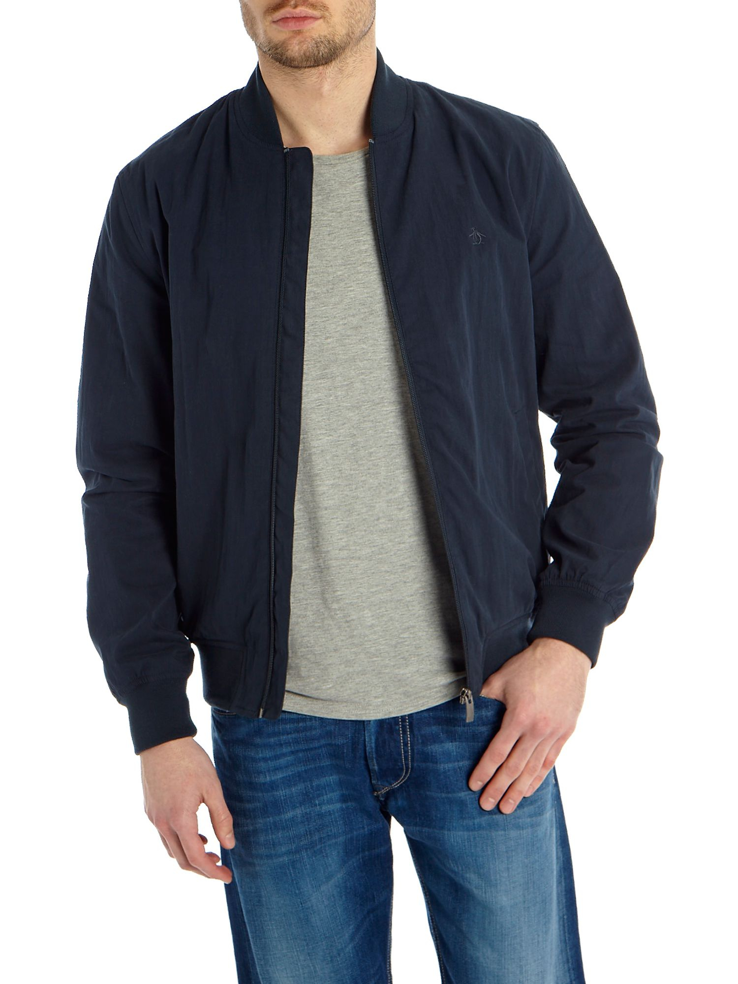 Original penguin Bomber Jacket in Blue for Men | Lyst