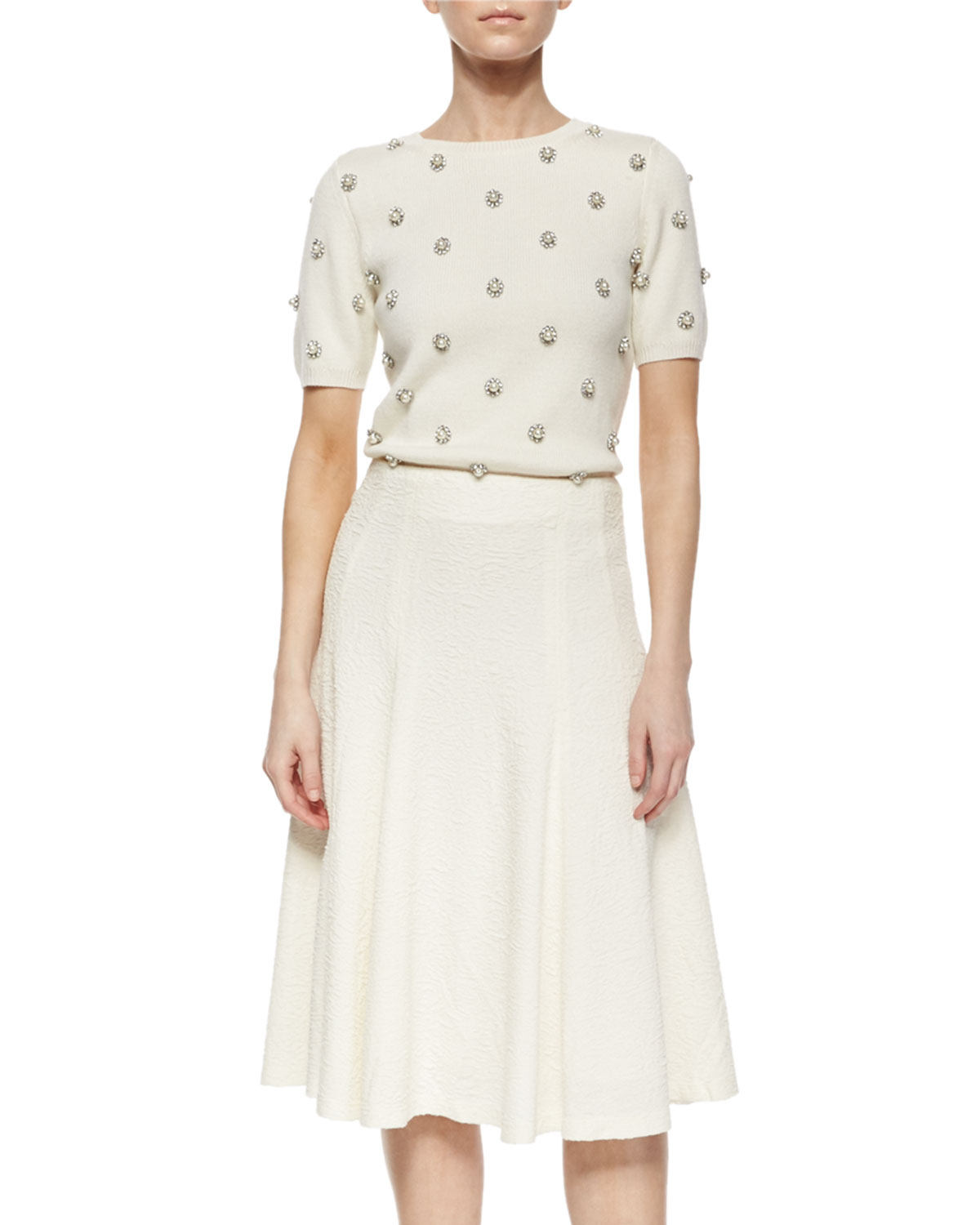 Alice   olivia Kimi Hammered Crepe A-line Skirt in Natural | Lyst