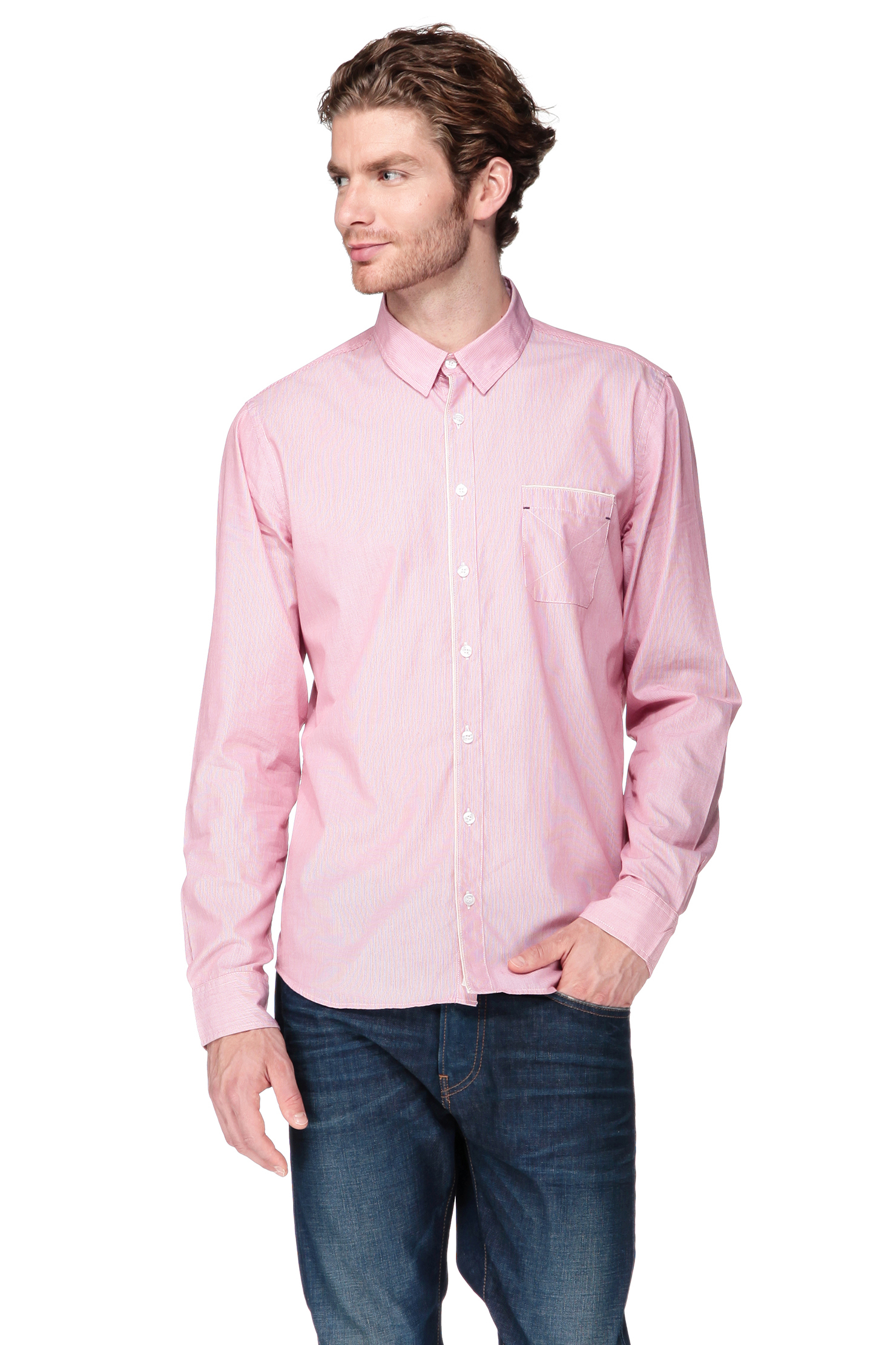 Harris wilson long sleeve shirt in pink for men lyst for Mens pink long sleeve shirt