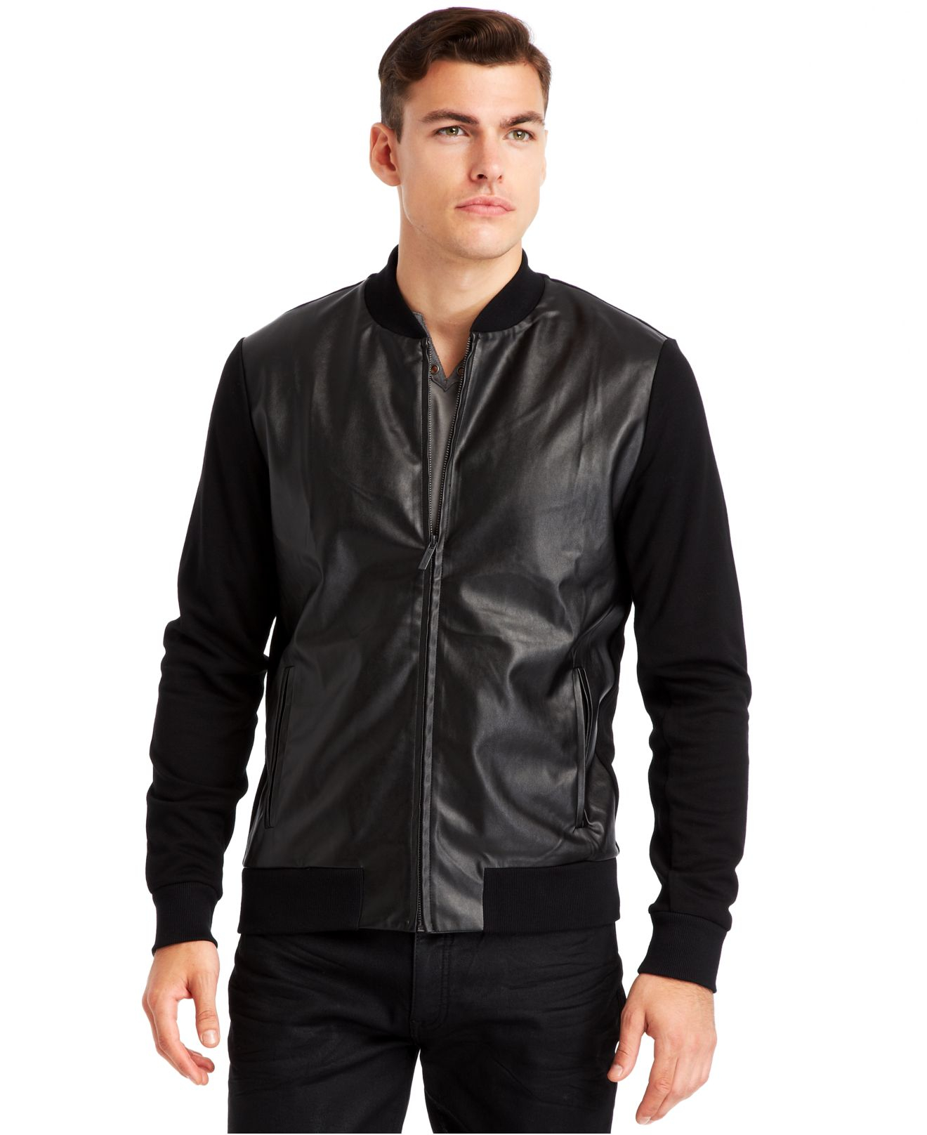 Kenneth cole Faux-Leather Baseball Jacket in Black for Men | Lyst