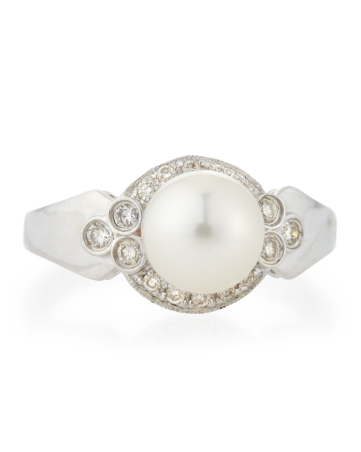 Belpearl 18k Akoya Pearl & Curved Diamond Ring, Size 7